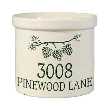 Stoneware crock pine bough address design for Whitehall tattoo supply