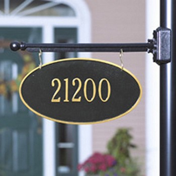 Two-Sided Hanging Oval Address Plaque 1 Line