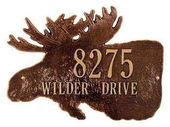 Moose Silhouette Address Plaque