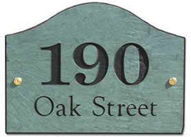 Slate Address Plaque Curve Style