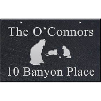 Hanging Slate Address Plaque 12 x 19, Cats