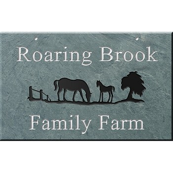 Hanging Slate Address Plaque 12 x 19, Horses