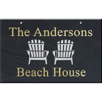 Slate Address Plaque 12 x 19, Adirondack Chairs