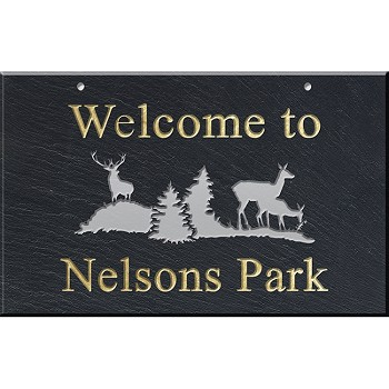 Slate Address Plaque 12 x 19, Deer