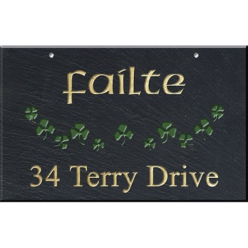Slate Address Plaque 12 x 19, Shamrocks