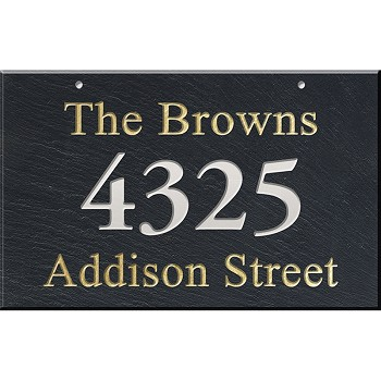 Hanging Slate Address Plaque 12 x 19, 3 line