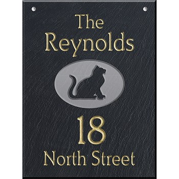 Slate Address Plaque  12 x 16, Sitting Cat