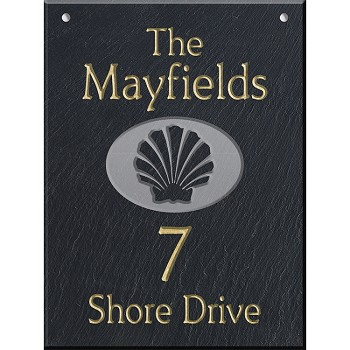 Shell Wall Slate Address Plaque