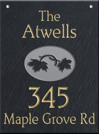 Leaves Wall Slate Address Plaque
