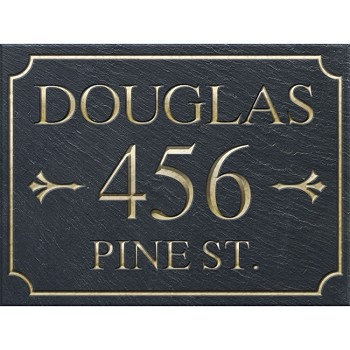 Slate Address Plaque 3 Line Rectangular