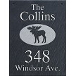 Wall Mount Moose Graphic on Slate Plaque