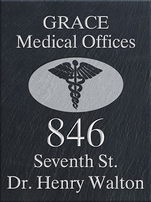 Sign for the Medical Profession with Caduceus Symbol, Slate
