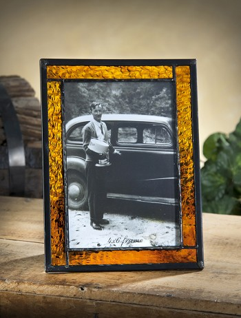 Personalized Amber Stained Glass Picture Frame