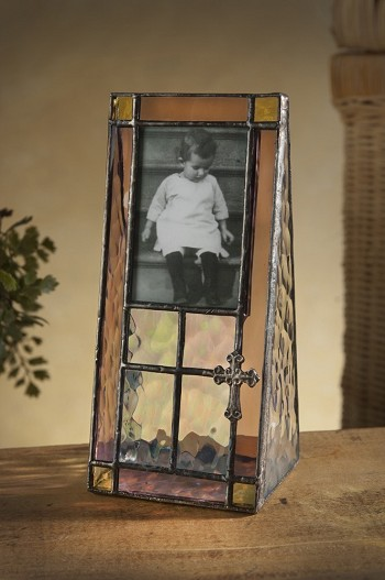 Personalized Stained Glass Picture Frame with Cross