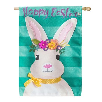 Easter Bunny Burlap House Flag (28 in. x 44 in.)