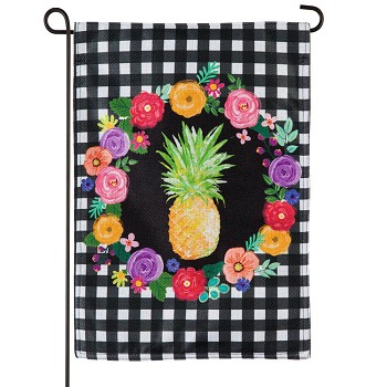 Pineapple Plaid Floral Garden Burlap Flag (12-1/2 in. x 18 in.)