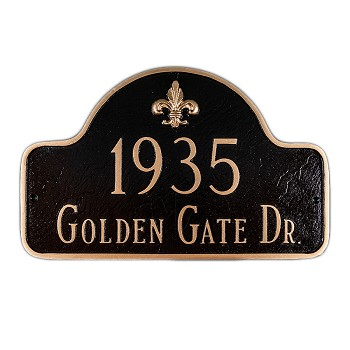 Lexington Fleur de Lis 2 Line Estate Address Plaque