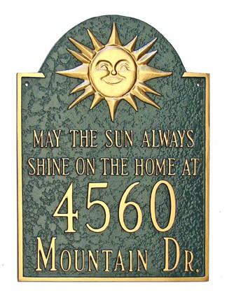 Home Address Plaque Sun Theme Wall