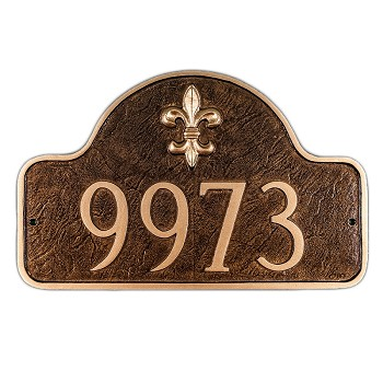 Lexington Fleur de Lis Address Plaque Large 1 Line