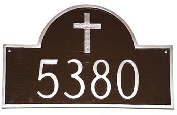 Arch Address Plaque Rugged Cross