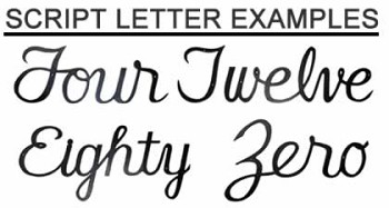 Cursive House Numbers Script Style