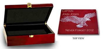 Patriotic Keepsake Box Rosewood with Silver Accents