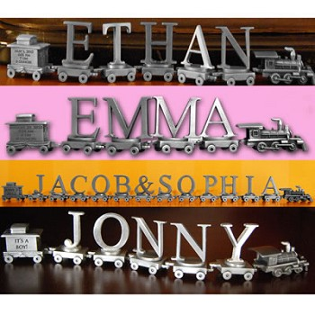 Baby Expression Train - Personalized Pewter