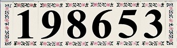 3.5 Inch House Numbers on Ceramic Tile, Country Font