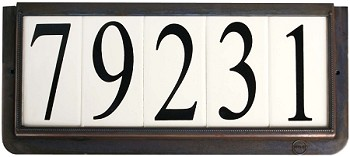 4 Inch House Numbers on Ceramic Tile in Bronze Frame