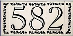 4 Inch House Numbers on Ceramic Tile in Open Classic Font
