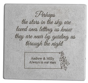 Personalized Memorial Stone - Perhaps the Stars in the Sky, Cast Stone