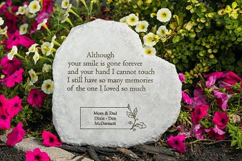 Personalized Heart Shaped Memorial Stone - Although Your Smile Is Gone, Cast Stone