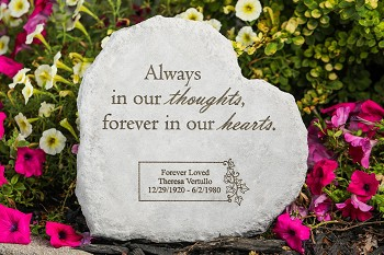 Personalized Heart-Shaped Memorial Stone - Always in Our Thoughts, Cast Stone