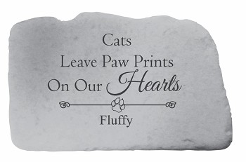 Cats Leave Pawprints Memorial, Curved Cast Stone