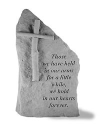 Framed Memorial Stone With Cross - Those We Have Held In Our Arms..
