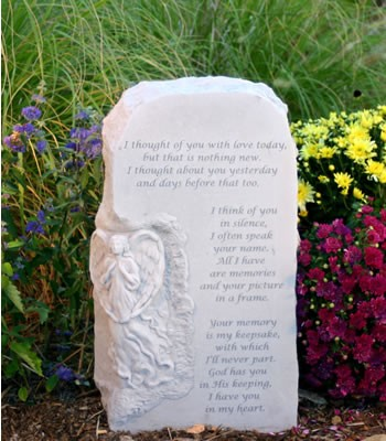 I Thought of You With Love Upright Memorial Stone With Angel
