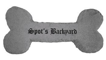 Personalized Carved Dog Bone In Cast Stone