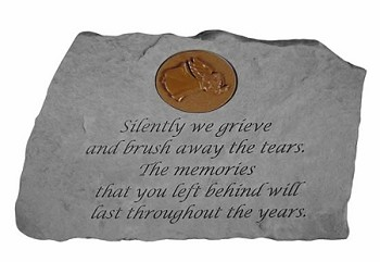 Garden Stone With Symbol - Silently We Grieve..