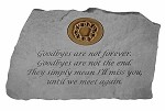 Garden Stone with Symbol - Goodbyes are not forever