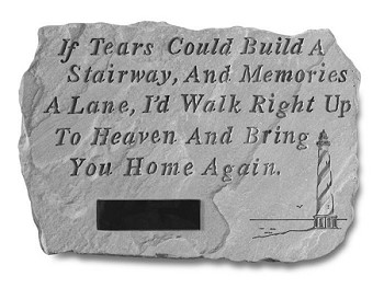 Personalized Memorial Garden Stone With Lighthouse - If Tears..