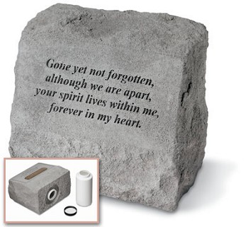 Pet Memorial Stone With Urn - Gone Yet Not Forgotten..