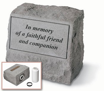 In Memory Of A Faithful Friend Pet Memorial Stone with Urn