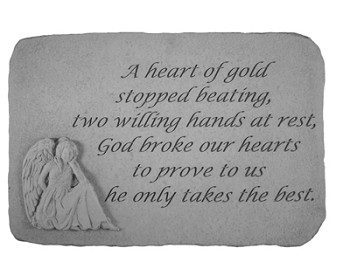 Memorial Stone..A Heart Of Gold w/Angel..