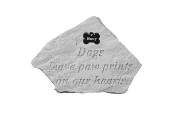 Personalized Memorial Stone - Dogs Leave Pawprints w/Bone