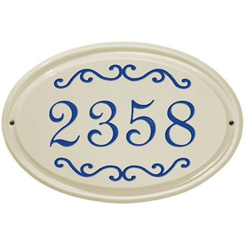 Ceramic Address Plaque Classic Scroll 1 line