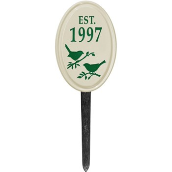 Ceramic Date Established Plaque Bird Lawn Style