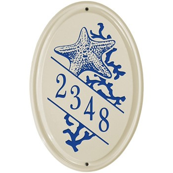 Ceramic Address Plaque Star Fish Vertical