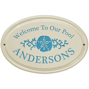Sand Dollar Welcome to Our Pool Ceramic Plaque