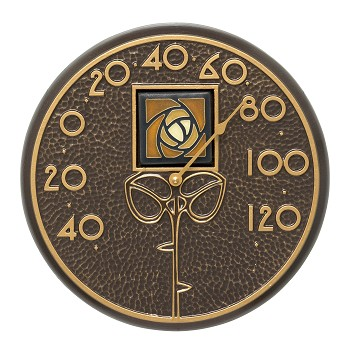 Amber Dard Hunter Rose Indoor/Outdoor Wall Thermometer