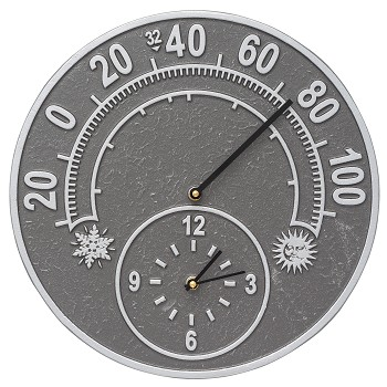 Solstice Indoor/Outdoor Thermometer & Wall Clock